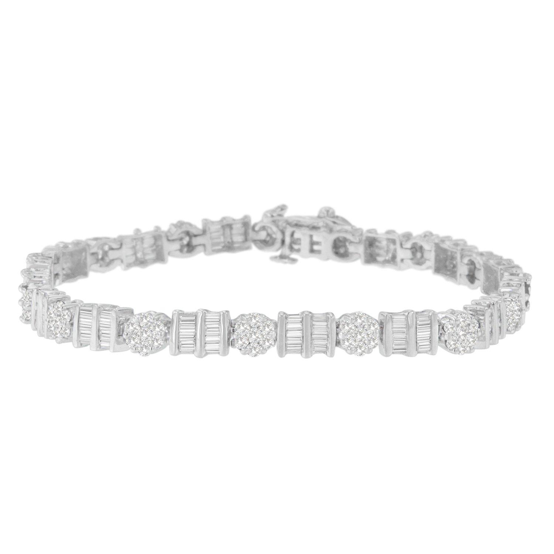 Original Classics 14K White Gold Round and Baguette Cut Diamond Tennis Bracelet (3 2/5 cttw, H-I Color, I1-I2 Clarity)