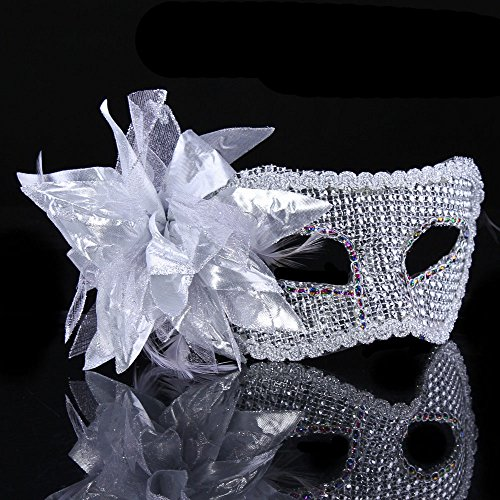 (Luxurious Simulated Diamond Accent Venetian Masquerade Masks Cosplay Mask with Big Lace Flower (White) )