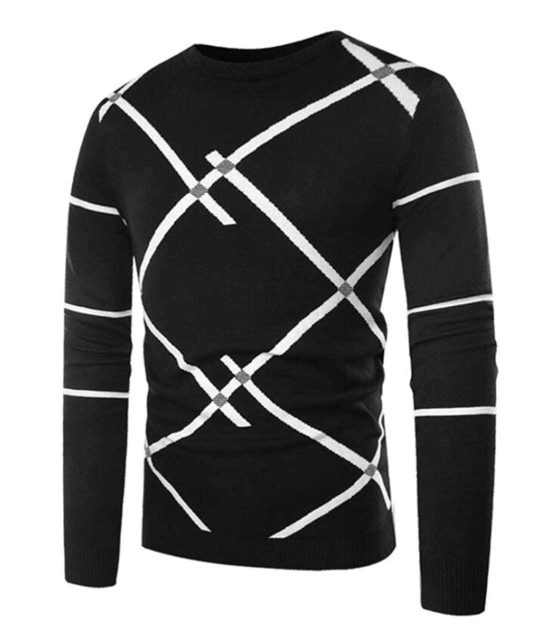 XTX Mens Plus Size Crew Neck Long Sleeve Pullover Knit Sweater