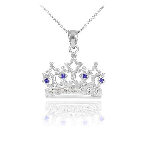 Fine 14k White Gold Blue Sapphire and Diamond Crown Pendant Necklace