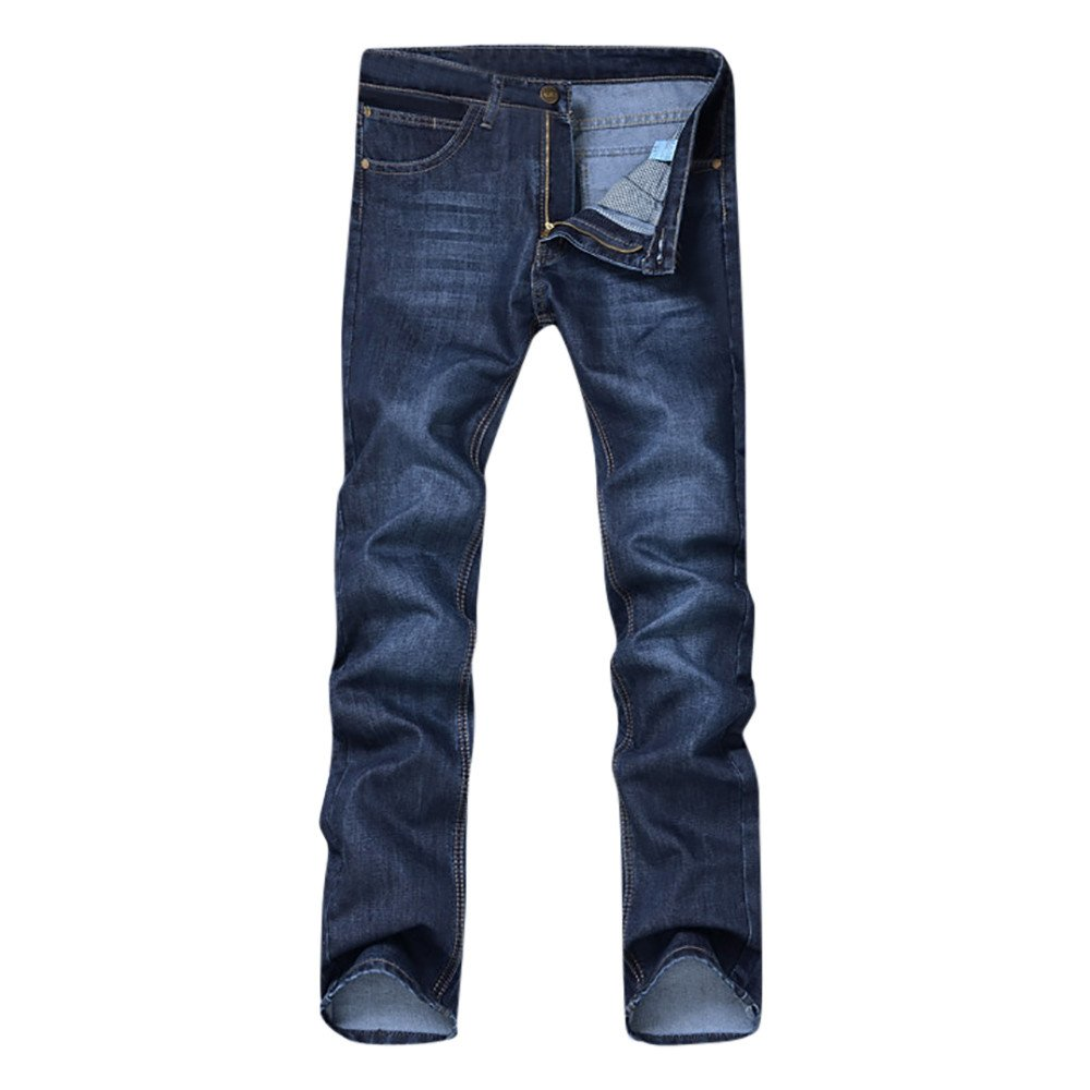 aiNMkm Men's Casual Autumn Denim Cotton Hip Hop Loose Work Long Trousers Jeans Pants,Blue,32