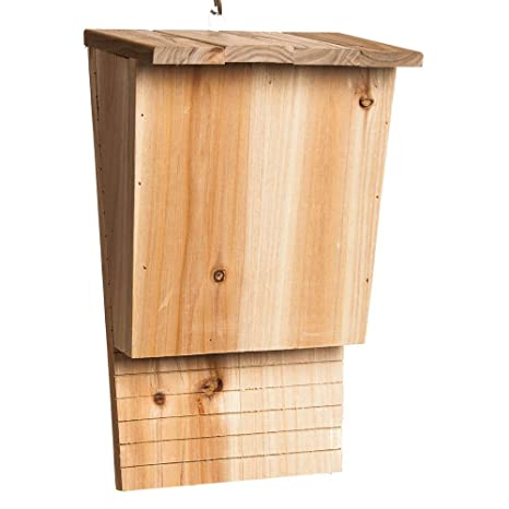 Evergreen Natural Wood Solid Pine Single Chamber BAT HOUSE   Natural  Pesticide And Bug Control