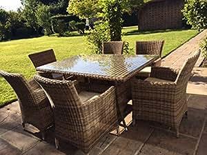 Ratán mesa de jardín de 6plazas de aluminio con agujero para sombrilla, mitad redonda Weave