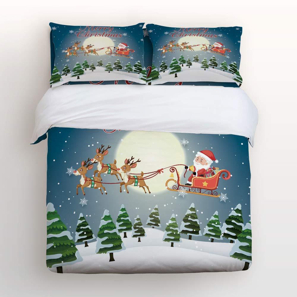 メリークリスマステーマ かわいいサンタクロース布団カバー寝具4点セット 枕カバー2枚 ウルトラソフト 低刺激性マイクロファイバー(掛け布団なし) キング 20181116LTTTMSJTBCSSCRY01749SJTDTMY B07KW6KHPS Christmas-066tmy7677 キング