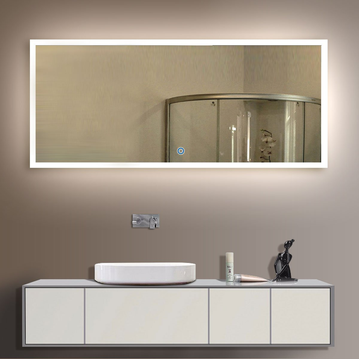 D-HYH LED 84 x 40 In Decorative Bathroom Silvered Mirror with Touch Button (N031-A) by D-HYH