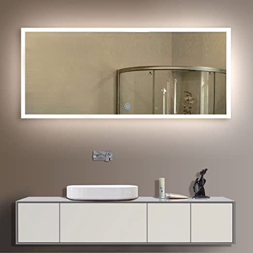 mirror for bathroom. Amazon com  55 x 36 In Horizontal LED Bathroom Silvered Mirror with Touch Button N031 C Home Kitchen