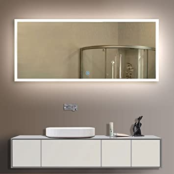 BHBL 84 x 40 in LED Backlit Mirror Wall Mounted Lighted Makeup Vanity  Mirror with Touch Button (N031,A)