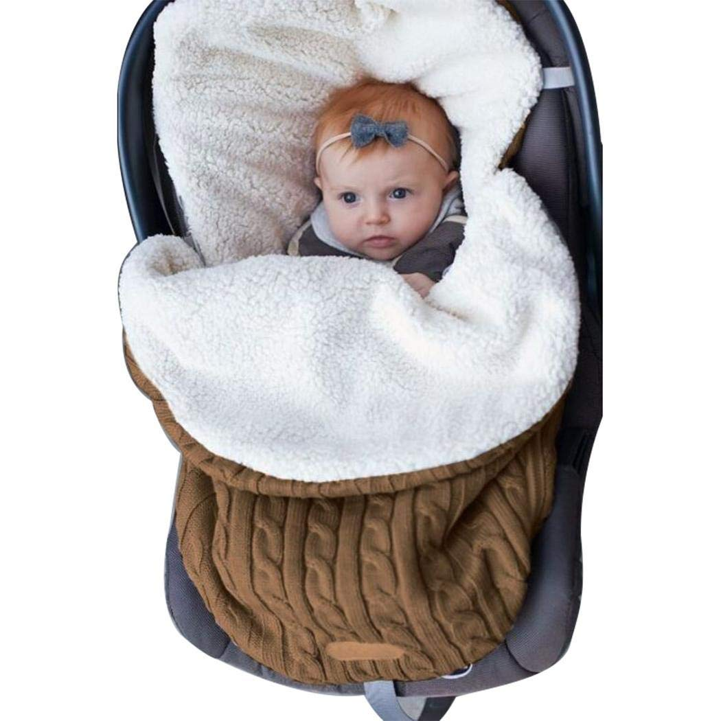 Kigin Baby Carriage Warm Sleeping Bag Thick Plush Lining Knitted Bag Sleeping Bags