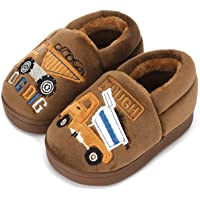 ESTAMICO Boys Girls Warm Slippers Cartoon Car Kids Winter Indoor Household Shoes