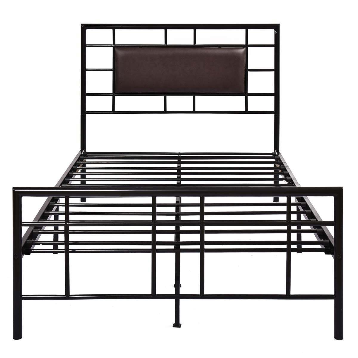 Bed Fame Queen Size Mattress Foundation Headboard and Footboard Heavy Duty Metal Platform Bed Steel Slabs Bed Frames for Living Room No Box Spring with Black PU Headboard