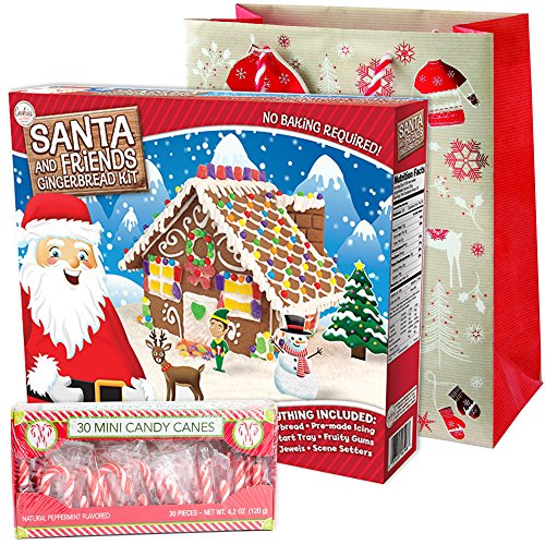 Santa Workshop Gingerbread House Kit Pre-baked + Pack of 30 Mini Peppermint Candy Cane + Holiday Themed Gift Basket Bag   Christmas DIY Large 29 Oz Kit   Pre-made Icing Fruity Gummies Scene Setters