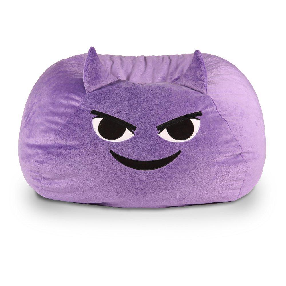 GoMoji 9630501 Emoji Bean Bag Mischief Chair, 28 x 28, purple