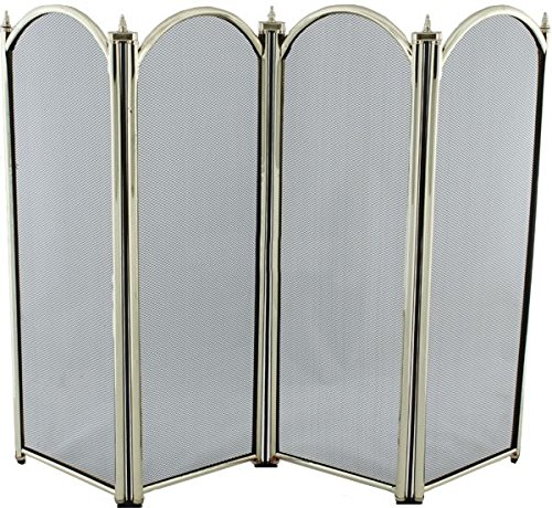 Black Country Metal Works 'Fallow Court' Large Brass Four Fold Fire Screen Spark Guard 820mm x 315mm