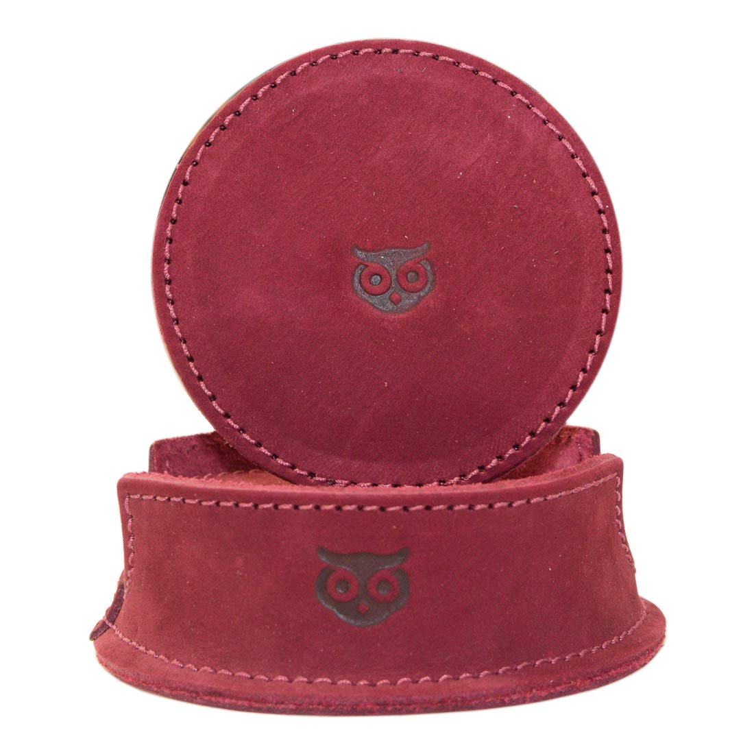 Hide & Drink, Durable Thick Leather Owl Coasters with Stitching (6-Pack) Handmade Includes 101 Year Warranty :: Red Velvet Suede by Hide & Drink