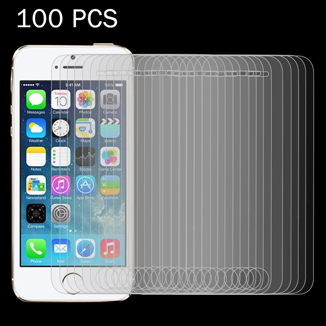 HAIJUN Phone Screen Film 100 PCS for iPhone SE /& 5 /& 5S /& 5C 0.26mm 9H Surface Hardness 2.5D Explosion-Proof Tempered Glass Film Anti-Scratch Tempered Glass
