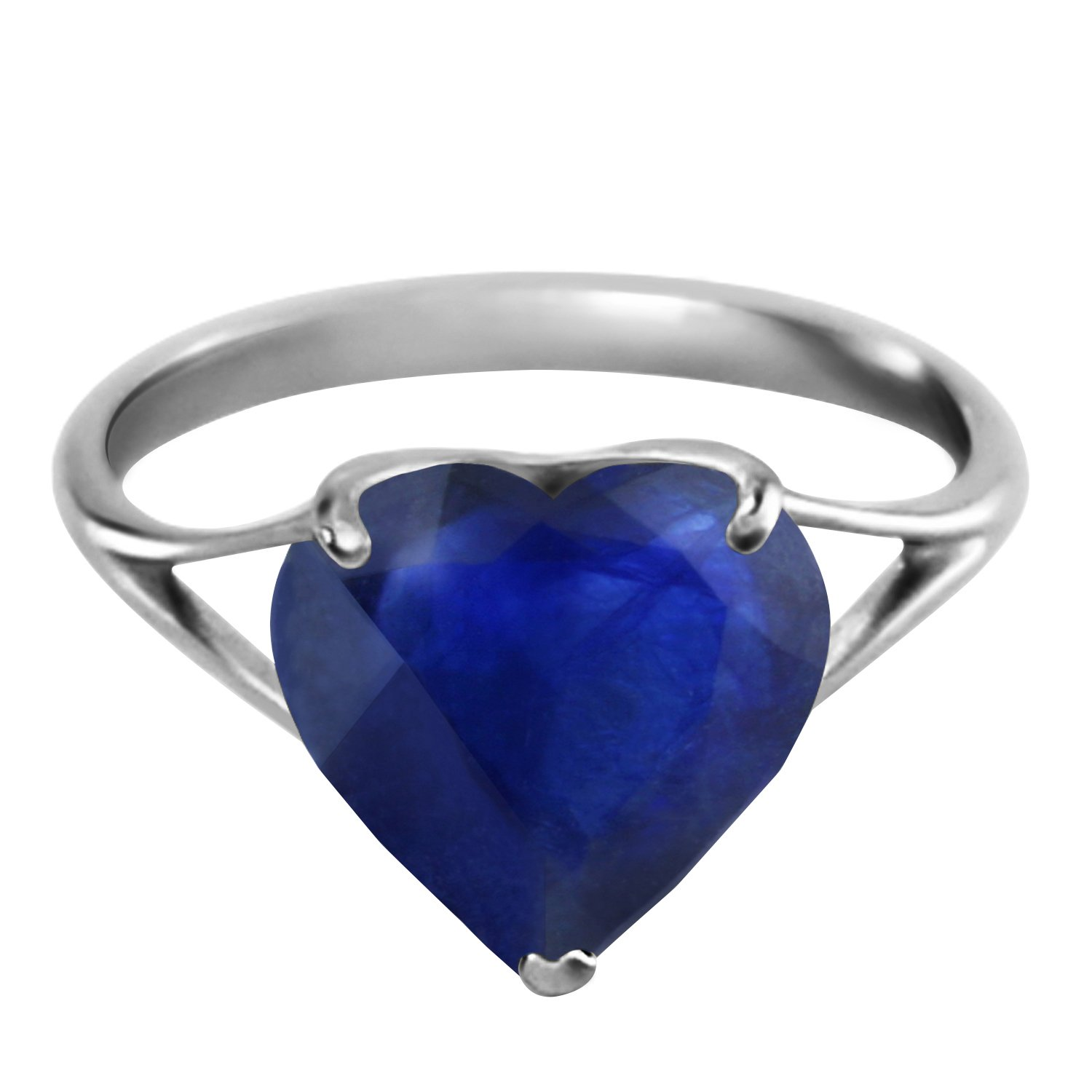 K14 Yellow, White, Rose Gold Ring with Natural 10mm Heart-shaped Sapphire 9.5  B00YFV4ALA