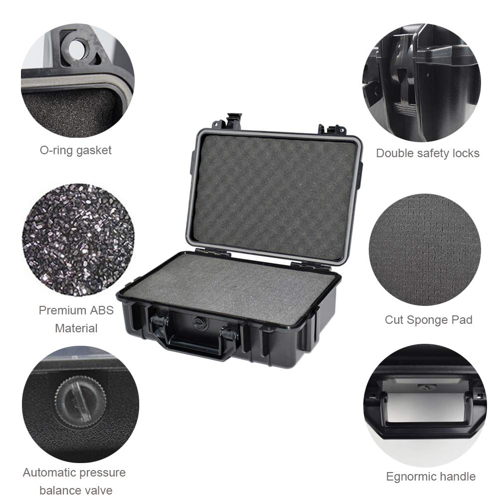 Fesjoy Water Resistant Safety Box ABS Plastic Tool Case Outdoor Dry Box Sealed Safety Equipment Storage Outdoor Tool Container