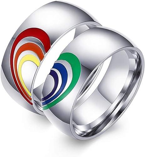 Aeici 8mm Lgbt Pride Flag Couple Ring For Gay Lesbian Rainbow