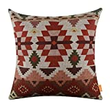 """LINKWELL 18""""x18"""" Ethnic Printing Pattern Design Attractive Burlap Cushion Covers Pillow Case (CC1017)"""