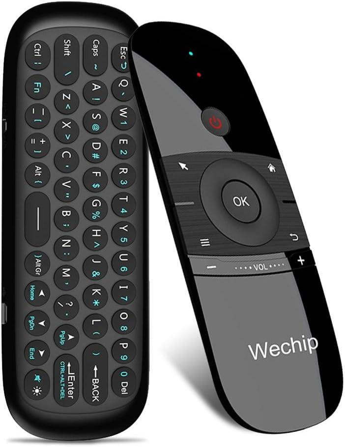 Prom-note W1 ratón aire 2.4 GHz inalámbrico teclado mando a distancia por infrarrojos Vistoso Computadora Teclado con Cable de carga USB para Windows Smart TV Android TV Box PC portátil