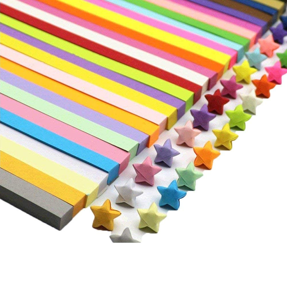 Origami Stars Papers,Origami Paper Strips Children Kids DIY Craft Assorted Colors 1080 Sheets Star 0rigami Paper Strips 27 Colors