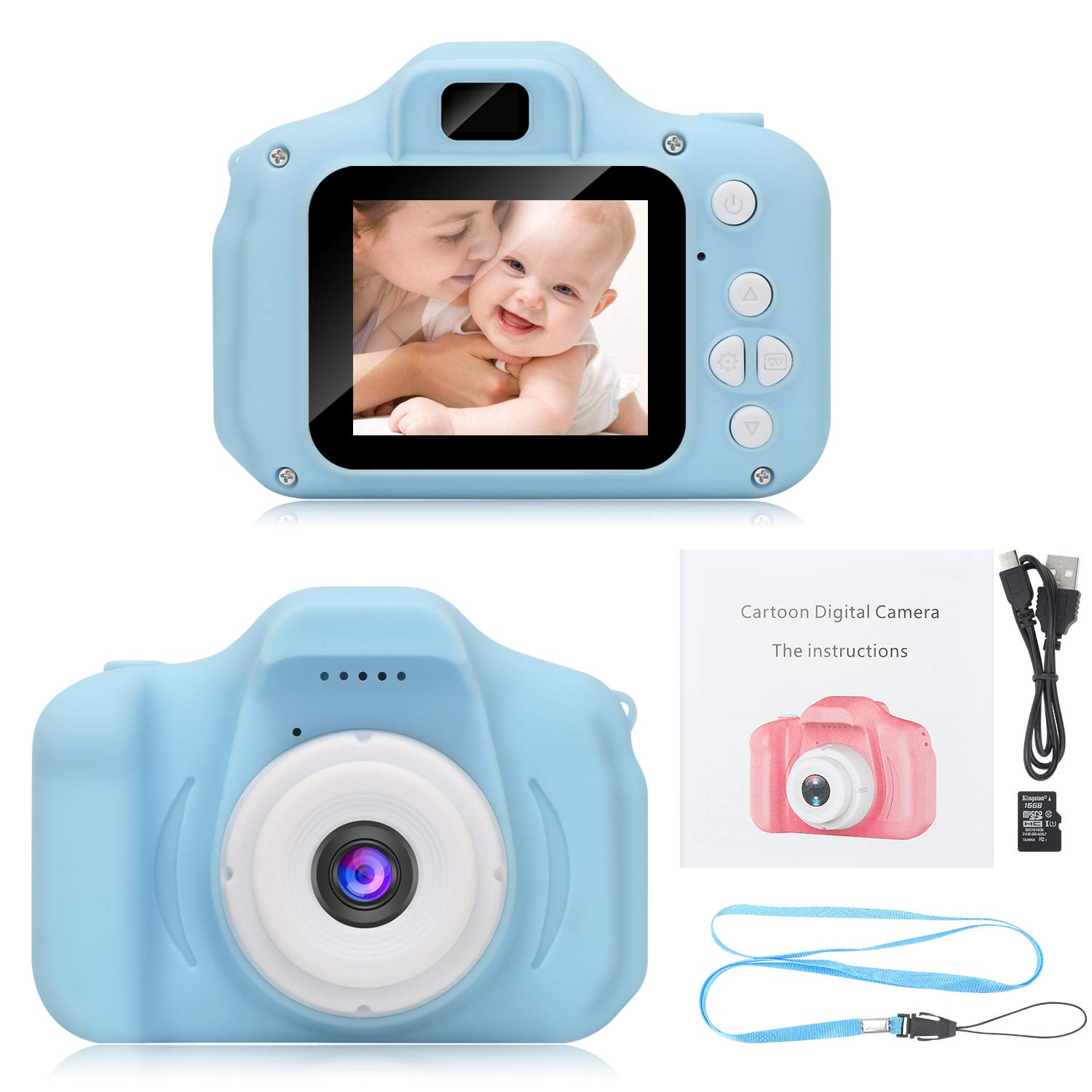 DDGG Kids Digital Camera Toy Camera HD Kids Video Cameras Shockproof Cameras with Soft Silicone Shell Gift for 4-10 Years Old Girls Boys Party Outdoor Play (16G SD Card Included) by DDGG (Image #1)