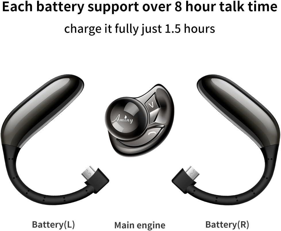 AMINY UFO Bluetooth Headset Auricular inal/ámbrico Bluetooth-Compatible con Android//iPhone//Laptop-Tiempo de 16 Horas de reproducci/ón Auricular de Bluetooth V5.0 Auriculares inal/ámbricos con micr/ófono