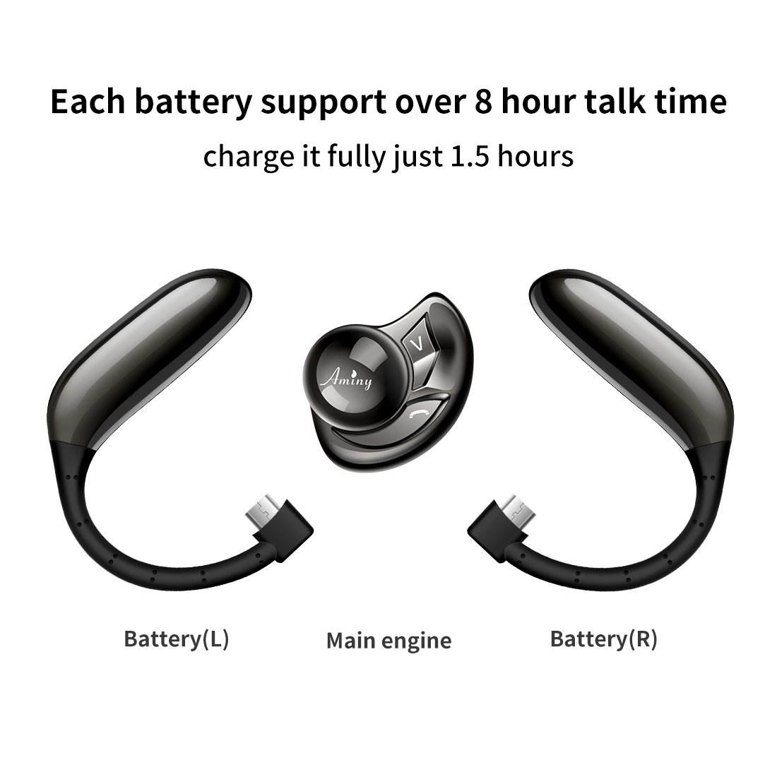 Aminy Bluetooth Headset with 16-Hr Playing Time V4.2 Car Bluetooth Headset Wireless Earphones with Mic Cell Phone noise cancelling Bluetooth Earpiece for iPhone Samsung Android (Updated Version) by Aminy (Image #4)