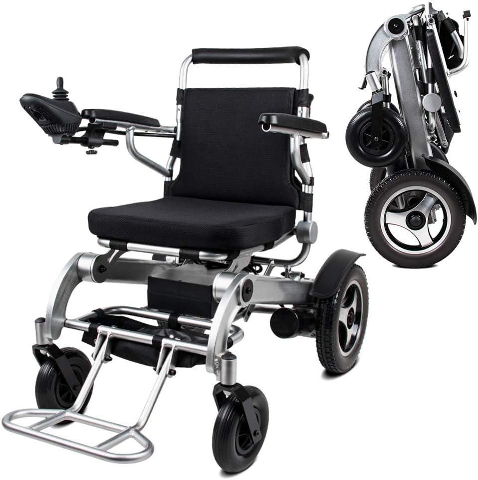 KADDGN Silla de Ruedas eléctrica Ligera de aleación de Aluminio Plegable es cómoda y, Plegable Antiguo Deshabilitado Scooter Capacidad de acción compensatoria