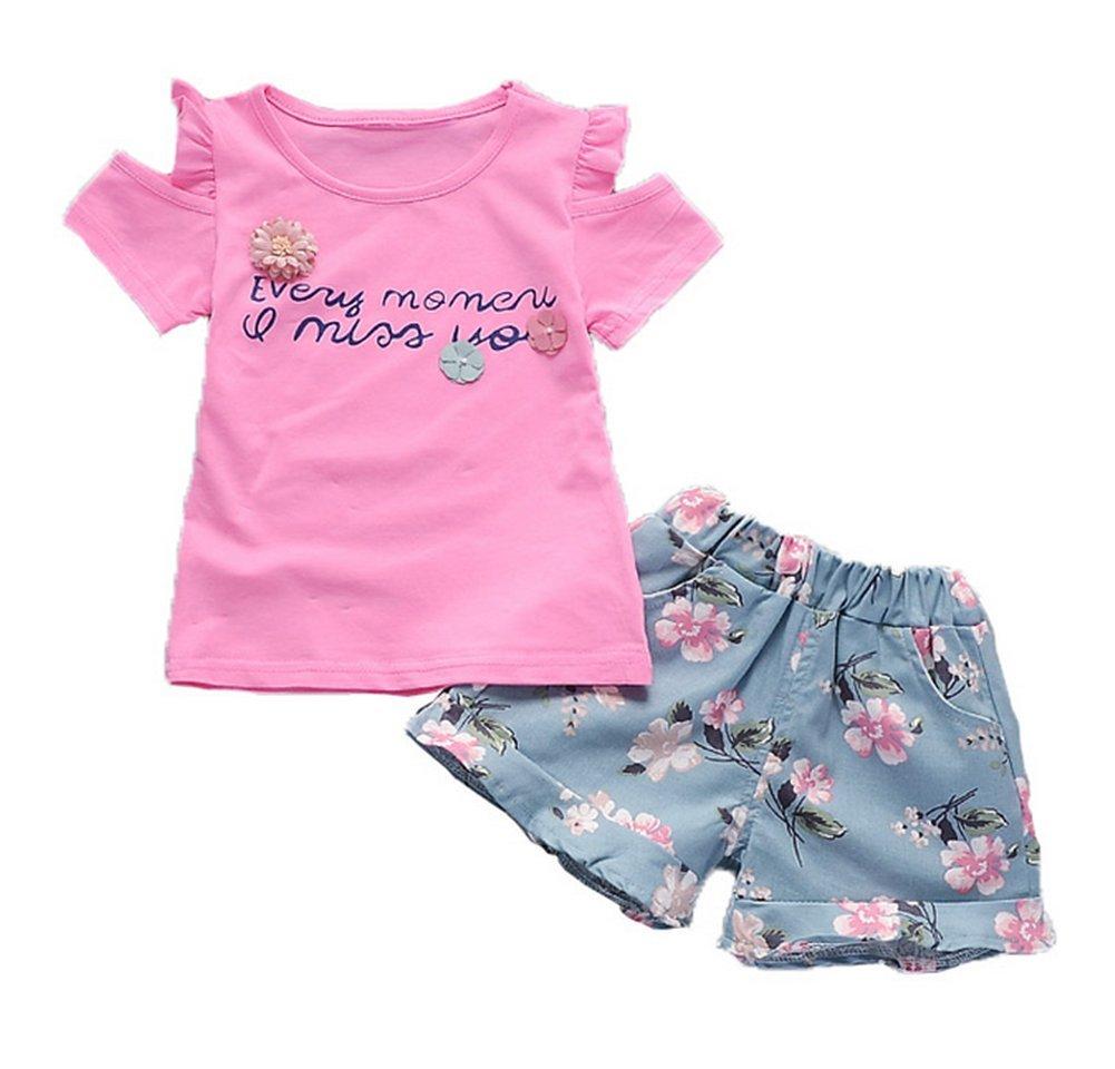 BibiCola Summer Baby Girls Clothing Sets T-Shirt+ Floral Shorts 2pcs Kids Shorts Sets(Red,4T