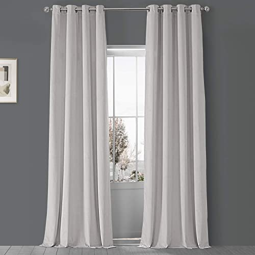HPD Half Price Drapes VPCH-110602-108-GRBO Signature Grommet Blackout Velvet Curtain 1 Panel