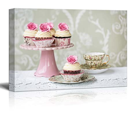 Canvas Prints Wall Art – Afternoon Tea with Rose Cupcakes – 32 x 48