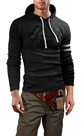 64ff32f61db5d6 Grin&Bear Men's Slim Fit Longsleeve Hoodie, Long Sleeve, Black Printed, ...