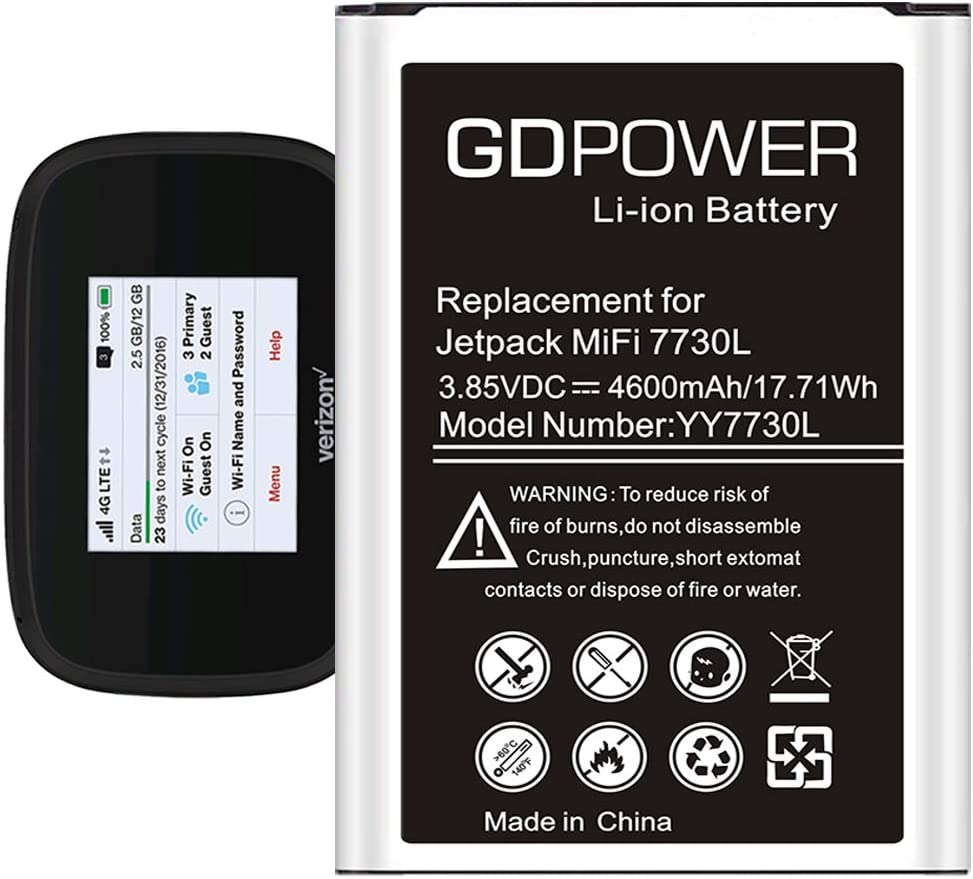 GDPower 4600mAh Li-ion Battery Replacement for Verizon Novatel Jetpack MiFi 7730 7730L Mobile Hotspot P/N: 40123117 Spare Battery