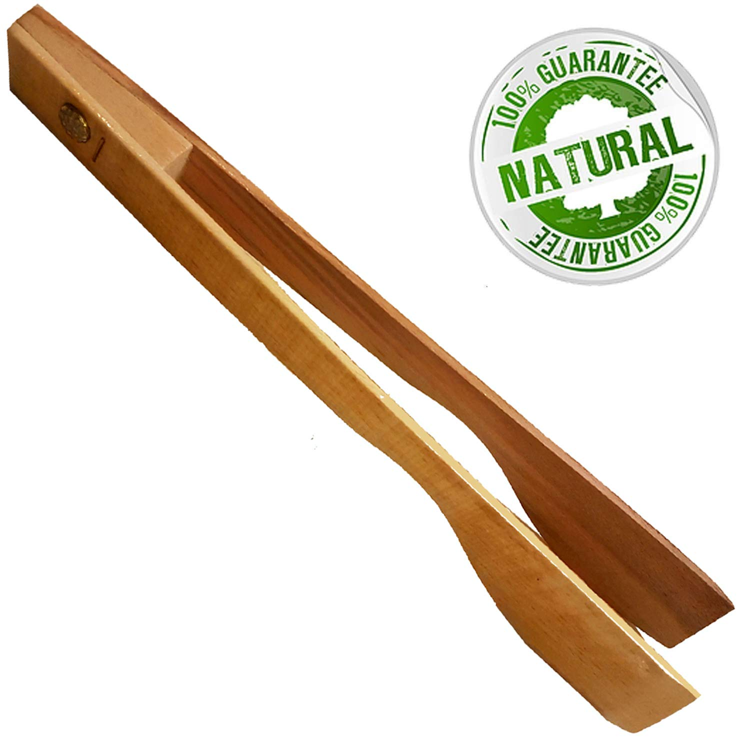 Wooden Toaster Kitchen Tongs 12 Inch - Large Wood Tongs Utensils for Cooking and Holding, Toast, Bacon, Muffin, Bagel, Bread%100 Natural Beechwood