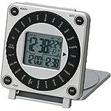 LANDEX トラベルクロック ワールドトラベラー デジタル表示 折りたたみタイプ シルバー YT5131SV