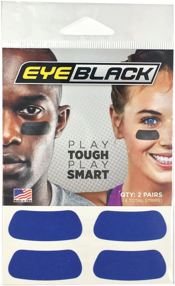 EyeBlack Blue Football Baseball Softball Strips, 2 Pairs : Sports & Outdoors