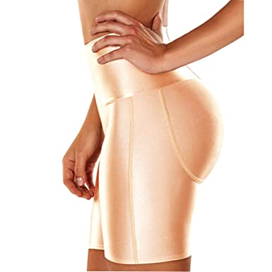 00bd3850200f6 Queenral High Waist Tummy Plus Size Body Shaper Control Shapewear Shorts Butt  Lifter Padded Pants Apricot
