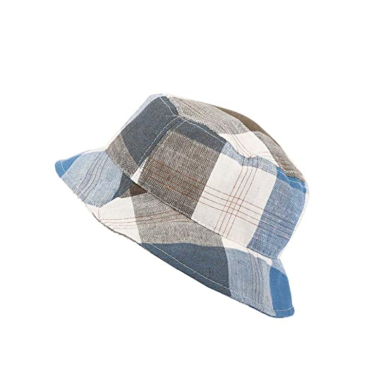 c3a9736bac6c0 Amazon.com  Toponly Bucket Boonie Hat Fishing Fisher Hats Plaid Outdoor  Festival Summer Sun Beach Cap Lady Blue  Clothing