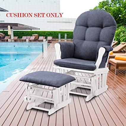 Glider Rocking Chair Replacement Cushions Velvet Washable For Chairs U0026  Ottoman Dark Grey