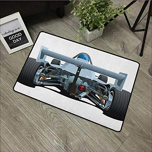 Outdoor Door mat W19 x L31 INCH Cars,Back View of a Formula 1 Race Car Rally Competition Sports Cartoon Style, Bluegrey Black White Easy to Clean, Easy to fold,Non-Slip Door Mat Carpet ()