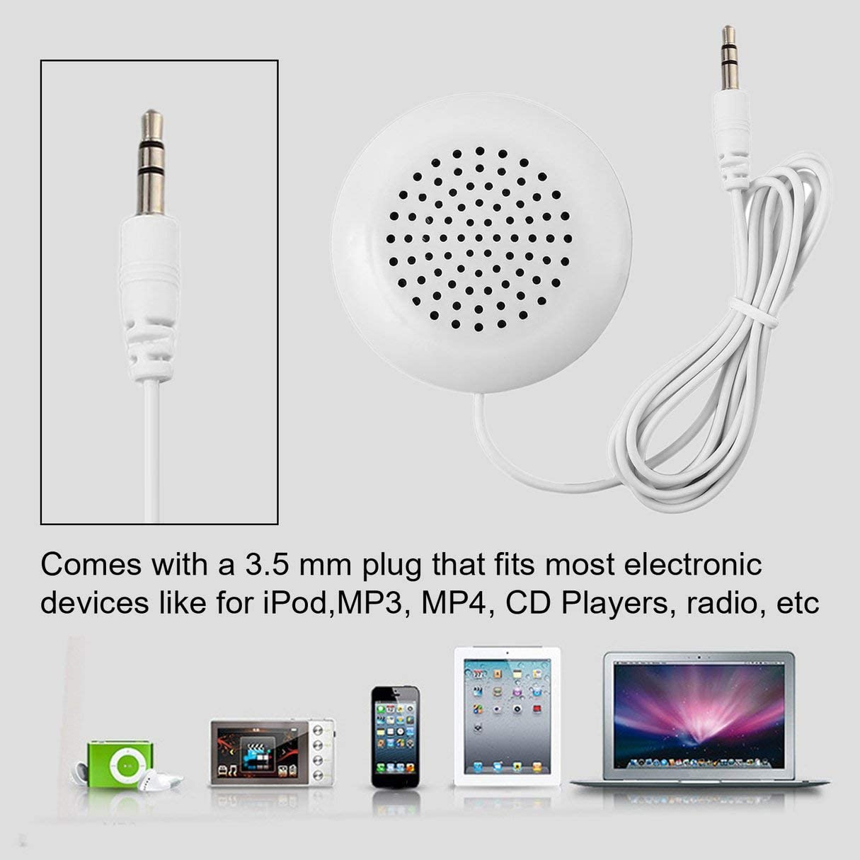hydens DIY 3.5mm Mini Louder Speakers Music Pillow Stereo Speaker for MP3 Phone for iPhone for iPod Touch CD Sleeping Use