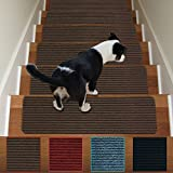 carpet for stairs Stair Treads Non-Slip Carpet Indoor Set of 13 Brown Carpet Stair Tread Treads Stair Rugs Mats Rubber Backing (30 x 8 inch),(Brown, Set of 13)