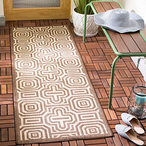 Safavieh Courtyard Collection CY2962-3409 Chocolate and Natural Indoor/ Outdoor Runner (2'3