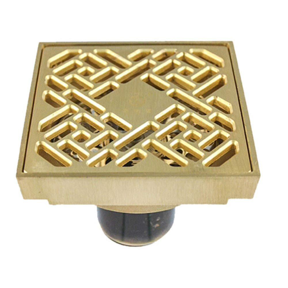 H-Y-HOME Bodenablauf Badezimmer Voll Kupfer Bodenablauf WC WC Insektensicher, Geruchsstoff, Anti Überlauf Bodenablauf, T-Typ, Golden