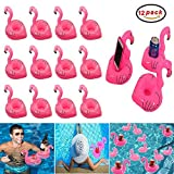 Easyinsmile 12pcs Inflatable Flamingo Cup/Drink Holder Water Floating Holder for Swimming Pool or Beach Party