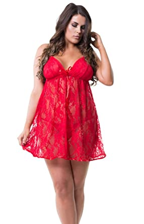 ea11d8a38c Perfect4U Red Plus Size Lace Babydoll Set   Thong Sizes 18-28  Amazon.co.uk   Clothing