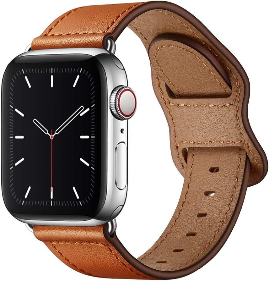 KYISGOS Compatible with iWatch Band 40mm 38mm 44mm 42mm, Genuine Leather Replacement Band Strap Compatible with Apple Watch SE Series 6 5 4 3 2 1 (Brown/Silver, 40mm/38mm)