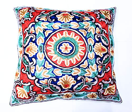 ZARMIN BEDDING ESSENTIALS Pillow Cover Elite Limited Collection of Kashmiri Hand Crafted Square Decorative 16 x 16 inch Cushion Covers for Indoor use on Bed or Sofa (Art-6 SATSAR). Set of Two.
