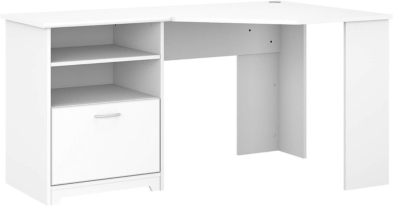 Bush Furniture Cabot 60W Corner Desk, White